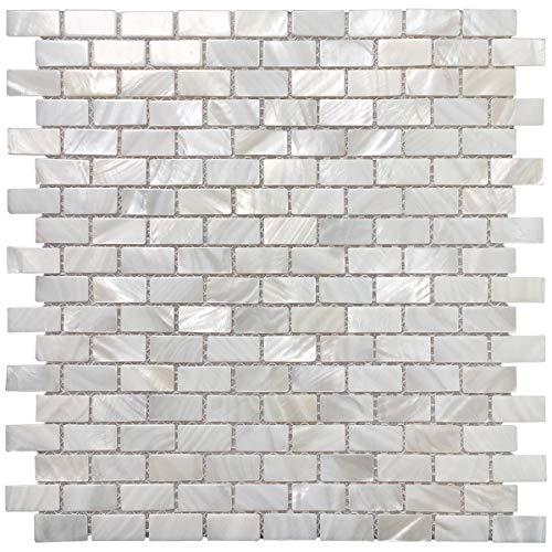 Art3d 6-Pack Mother of Pearl Shell Mosaic Tile for Kitchen Backsplashes/Bathroom Tile, White Subway Mosaic Tiles