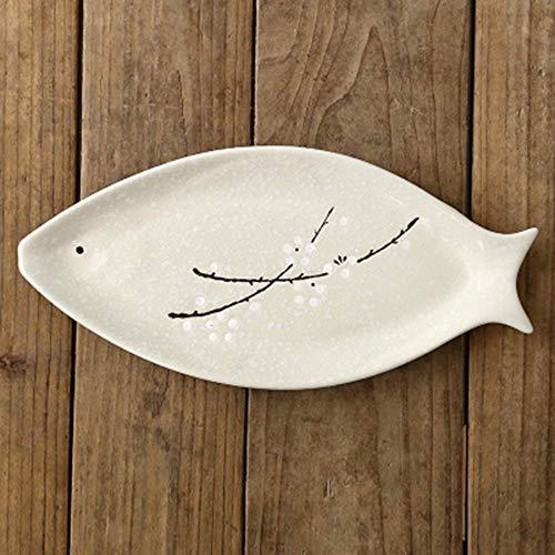 LIXUE Japanisch-Stil Schneeflocke Keramik westlichen Fisch Gericht gedämpft Fischgericht gegrillt Fischgericht Hause Bone China Mikrowelle Besteck-Tablett rosa und grün (Color : Green)