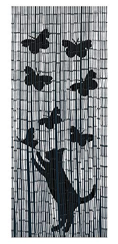 WENKO Bambusvorhang Katze und Schmetterling Dekovorhang Raumteiler Sichtschutz