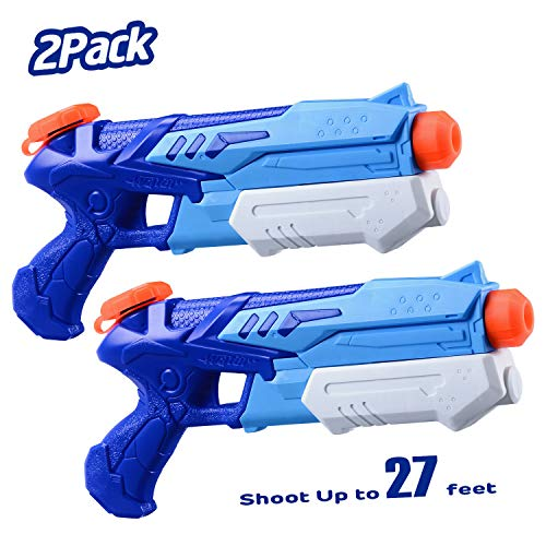 HITOP Water Guns for Kids, 2 Pack Super Squirt Guns Water Soaker Blaster 300CC Toys Gifts for Boys Girls Children Summer Swimming Pool Beach Sand Outdoor Water Fighting Play Toys