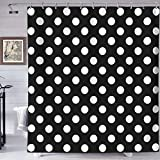 HYEECR Black White Polka Dot Shower Curtain Set Eco-Friendly Waterproof Polyester Fabric Bathroom Bath Curtains with 12 Plastic Hooks,72x72 Inches