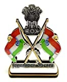 Double Sided Indian Cross Flag Dhwaj with Satyamev Jayate Emblem Car Dashboard & Office Table Stand