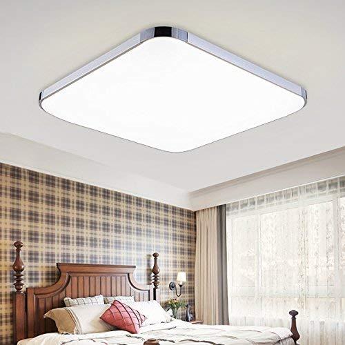 48W Weiß LED Deckenleuchte Eckig Deckenlampe Ultraslim Wohnzimmerlampe Badleuchte Schlafzimmerleuchte Beleuchtung Innenleuchte Silber Energiesparende Möbeleinbauleuchte [Energieklasse A++]