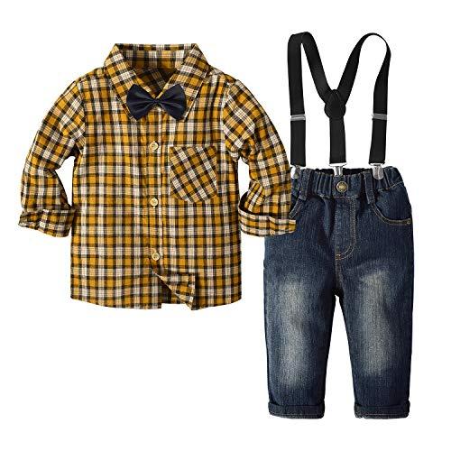 Traje de Vestir de otoño para bebés y niños Conjuntos de Ropa para niños pequeños Pajarita + Camisas a Cuadros Marrones + Tirantes + Pantalones 4 Piezas Trajes de Caballero (Marrón, 2-3 años)