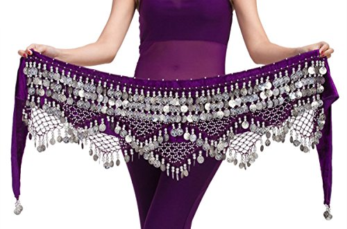Aivtalk Bufanda de Cadera Mujer con Monedas Plateadas para Danza del Vientre Prctica Disfraz Fiesta - Purple(Moneda Plateada)