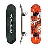 WIN.MAX Completo Skateboard para Principiantes 31'x8' 7 Capas Monopatín de Madera de Arce con rodamientos ABEC-7 Tabla de Skateboard(Etnic-OR)