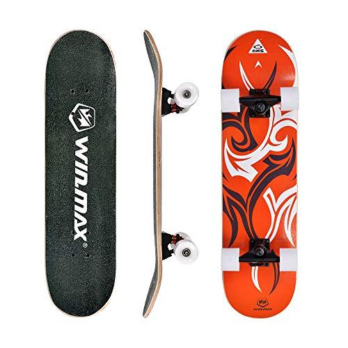 WIN.MAX Skateboard, Komplettboard mit ABEC Kugellager, 31 * 8 Zoll Holzboard aus 7 Fach Verleimte Ahornholz (Etnic-OR)