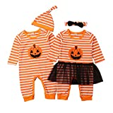Geagodelia Halloween Newborn Infant Baby Boy Girl Romper Pumpkin Long Sleeve Jumpsuit Hat or Headband Outfit...