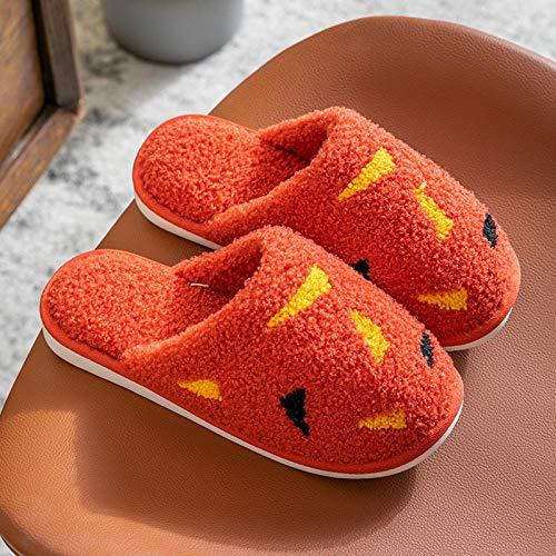 XZDNYDHGX Zapatillas de Casa para Hombre Invierno,Zapatillas de casa de Invierno para Mujer de Dibujos Animados, Zapatos Antideslizantes cálidos para el Interior del Dormitorio, Naranja, EU 38-39