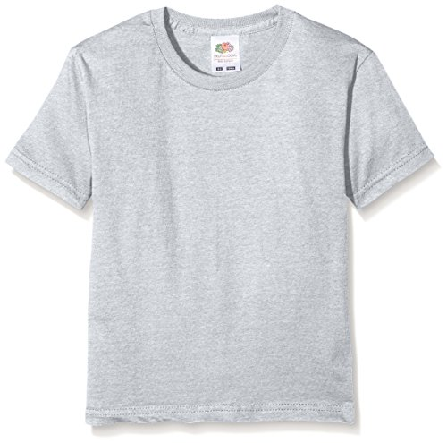 Fruit of the Loom Jungen Sofspun T Kids T-Shirt, Grau (Heather Grey 123), Herstellergröße: 152 (12-13)