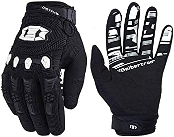 Seibertron Dirtpaw Unisex BMX MX ATV MTB Racing Mountain Bike Bicycle Cycling Off-Road/Dirt Bike Gloves Road Racing Motorcycle Motocross Sports Gloves Touch Recognition Full Finger Glove Black S
