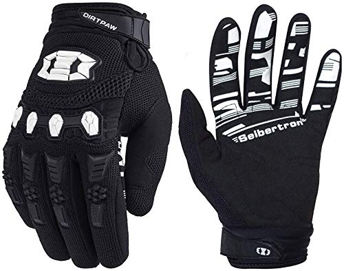 Seibertron Dirtpaw Unisex BMX MX ATV MTB Racing Mountain Bike Bicycle Cycling Off-Road/Dirt Bike Gloves Road Racing Motorcycle Motocross Sports Gloves Touch Recognition Full Finger Glove Black XXL