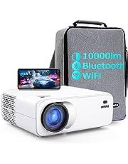 WiMiUS プロジェクター 10000lm 5GWiFi Bluetooth5.0 ネガティブ解像度1920×1080P 4K対応 60FPS 4P&4D台形補正 低遅延 ズーム機能 ホームシアー ホームプロジェクター 天井吊り可 WiFi/Bluetooth/USB/HDMI/AV/3.5mmオーディオ端子対応 SWITCH/パソコン/IOS/Android/DVDなど接続可能 日本語取扱書 専用収納バッグ/清掃キット付き