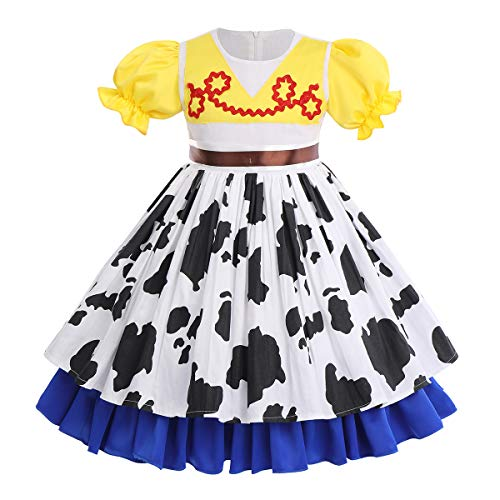 OBEEII Disfraz de Jessie de Toy Story para Niñas Carnaval Princesa Vestido Traje de Fiesta Halloween Cumpleaños Cosplay Costume #Amarillo 5-6 Años