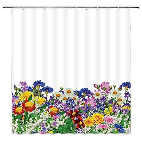 NJMRZX Duschvorhang mit Blumendekor, Blumengarten mit Gänseblümchen, Veilchen, Tulpen, naturfarbener Stoff, Badezimmervorhänge, 183 x 183 cm, wasserdicht, Polyester mit Haken