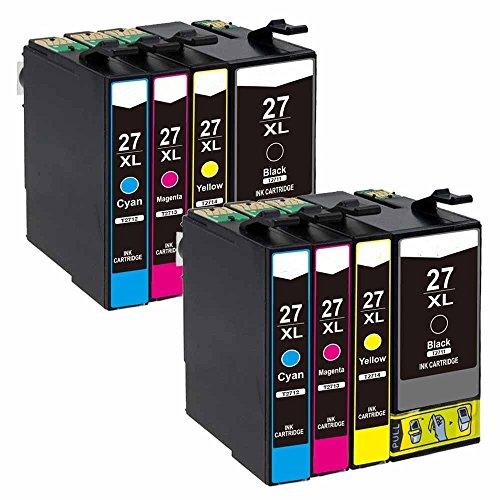 Karl Aiken 8X 27XL - Cartucho de tinta para Epson 27 XL para Epson Workforce WF-3620 WF-3640 WF-7110 WF-7210 WF-7610 WF-7620 WF-7710 WF-7715 WF-7720
