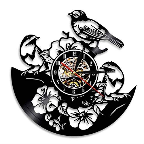 FYGEX Reloj de Pared Flores Pájaros Reloj de Pared Pájaros en árbol Reloj de Registro de Vinilo Songbirds Sparrows Reloj de Pared   con LED