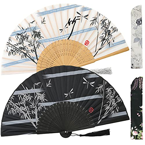 Leehome Folding Hand Fans for Women -Chinese Japanese 2pcs Vintage Bamboo Silk Fans - for Dance, Music Festival, Wedding, Party, Decorations,Gift. (Black & White Bamboo)