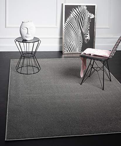 Mia´s Teppiche Emma Wohnzimmer Teppich, Kurzflor 17 mm, 120 cm Rund, Polypropylen, Grau, 17 cm