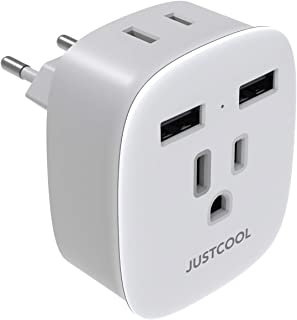European Travel Plug Adapter, Justcool International Power Plug Adapter with 2-USB Ports 2 AC outlets for US to Most of Europe EU Spain Germany Iceland Italy (Type C) - White