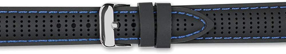 Sonia Jewels 22mm Black Blue Popular popular Silicone Silver-Tone Beauty products Ventilated Buc