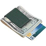 Travelambo Carbon Fiber Money Clip Front Pocket Wallet Minimalist Wallet Slim Wallet Credit Business Card Holder (CB green)