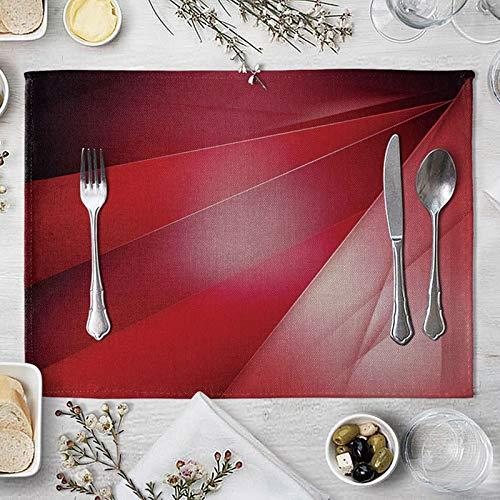 ANAZOZ Manteles Individuales 2 Patrón de Rayas Artísticas Mantel Individual Tela Lavable Rojo Tapete de Mesa Rectangular de 40x30 cm