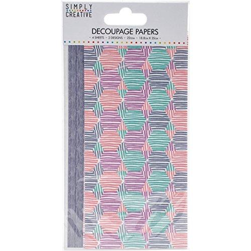 Trimcraft eenvoudig creatief decoupage papier 18,8 cm x 35 cm pastel zeshoeken, acryl, veelkleurig, 4,23 x 8,25 x 0,1 cm