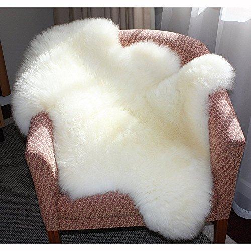 Tapis en fausse peau de mouton - Blanc, dos antidérapant, fait à la main - Pour bain, canapé, chambre, salon, cuisine, chaise, salle à manger - 60 x 90cm