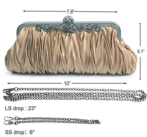 Pulama 1920s Crossbody Bag for Women, Vintage Evening Clutch Purse Wallet, Coffee