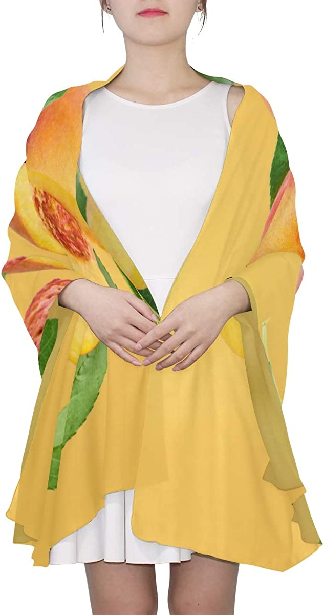 Fresh Ripe Yellow Peaches Unique Fashion Scarf For Women Lightweight Fashion Fall Winter Print Scarves Shawl Wraps Gifts For Early Spring