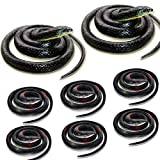 HDHF 8 PCS Large Realistic Rubber Snakes,Fake Snake Black Mamba Snake Toys for Garden Props to Scare Birds,Squirrels, Mice, Prank Stuff,Halloween Decorations(2P- 52 Inch, 6P-31.5 Inch)