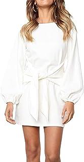 Women's Elegant Long Lantern Sleeve Short Dress Crewneck Tie Waist Knit Cocktail Dress