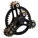 Pure Brass Fidget Spinner Gears Linkage Fidget Gyro Toy Metal DIY Hand Spinner Spins Long Time EDC Focus Meditation Break Bad Habits ADHD with Multiple Premium Bearings (12 Bearings Black)