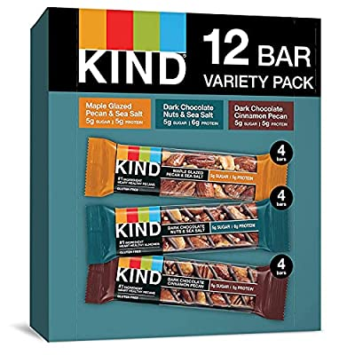 Nuts and Spices Variety Pack, Gluten Free, Low Sugar, 1.4 Ounce Bars, 12 Count