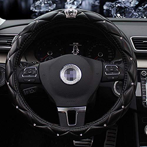 VIWIV Cubierta del volante Cubierta del volante nueva corona decoración cubierta del volante del coche hombres moda conjunto rhinestone negro manillar conjunto accesorios coche diámetro 38cm