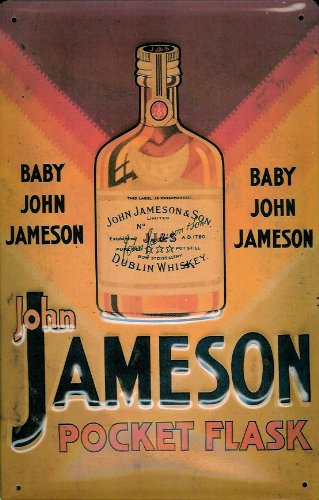 JAMESON Flachmann, 3D Prägung, Pub-Schild im Vintage-Stil, Metall