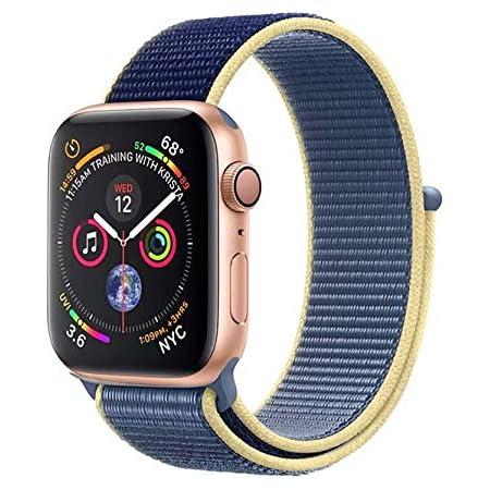 METEQI バンド 対応 Apple Watch、フックファスナー付き新しいナイロンスポーツループバンドストラップ交換バンドアップルウォッチシリーズ 適応 iWatch Series 6/5/4/3/2/1/SE (38mm/40mm, ブルーアラスカ)