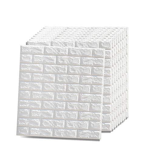 Vasen 3D Tapete Steinoptik Selbstklebend Wandpaneele Ziegeltapete Schaumstoff Wandverkleidung für Badezimmer Küchen Wohnzimmer 77 x 70 cm (5 Stk, Weiß)