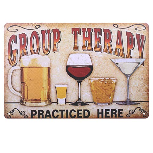 "You&Lemon Metall Zeichen""Group Therapy Practiced Here"", Retro Blechschild, Metal Poster Wandtafel, Vintage Wanddekoration für Cafe Bar Pub"