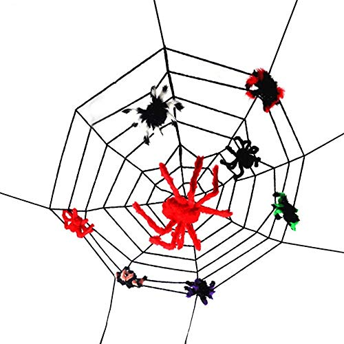 WH-MJ Halloween-Spinnen-Netz Spinnenseide-Simulations-Ornament Mall Haunted House Bar-Szene Layout-Horror Props (zufällige Farben) (Size : A 30cm Spider x6)