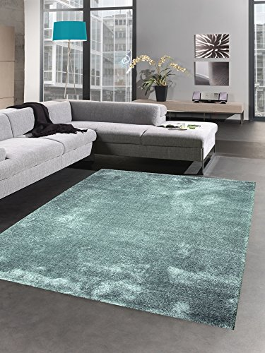 CARPETIA Moderner Teppich Wohnzimmerteppich Uni einfarbig hellblau eisblau Größe 120x170 cm