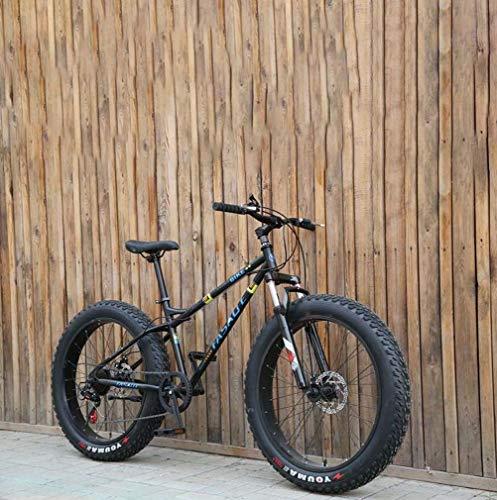 AISHFP Fat Tire Mens Mountain Bike, Double Disc Brake/Cruiser Bikes, Beach Snowmobile Bicycle, 26 inch Aluminum Alloy Wheels,Black,27 Speed