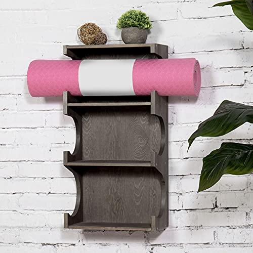 MyGift Wall-Mounted Vintage Gray Wood 3-Tier Foam Roller/Yoga Mat Storage Rack