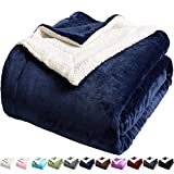 LBRO2M Sherpa Fleece Bed Blanket Twin Size Super Soft Fuzzy Plush Warm Cozy Fluffy Microfiber Couch Throw Velvet Double Reversible Luxurious Blankets,Navy Blue