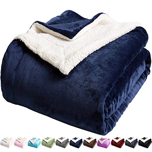 LBRO2M Sherpa Fleece Bed Blanket Queen Size Super Soft Fuzzy Plush Warm Cozy Fluffy Microfiber Couch Throw Velvet Double Reversible Luxurious Blankets (Navy Blue, Queen(90x90 Inches))