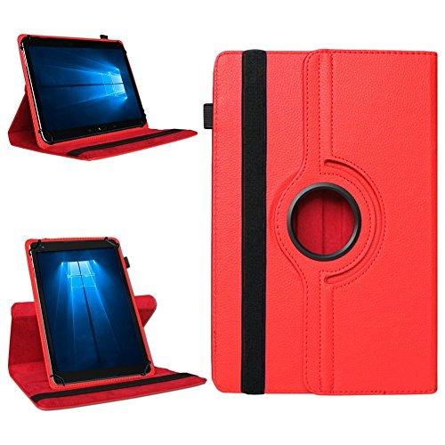 NAmobile Tablet 360° Drehbar Hülle für Odys Wintab Ares 9 Tasche Schutzhülle Hülle Cover, Farben:Rot