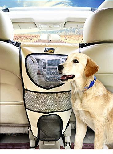 Yhjmdp Pet Auto Zaun Rücksitz Pet Barrier Dog Einstellbare Belästigung Rush Beständig Sicherheit Isolation Netto Hund Auto Tür Abdeckung Protector,Khaki