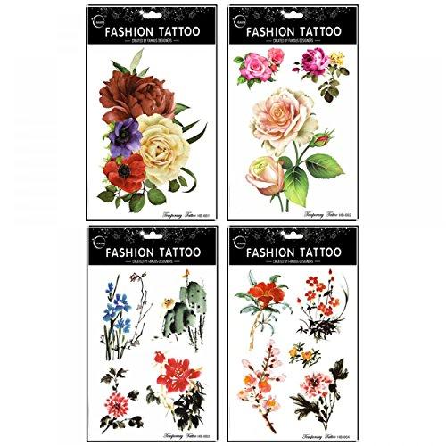 GGSELL GGSELL 4pcs toxiques imperméables et non différentes roses et pivoines et fleurs de peinture chinois conceptions de tatouages temporaires dans un seul paquet