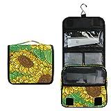 Neceser de viaje colgante – Bolsa de maquillaje con girasoles para mujeres y niñas impermeable